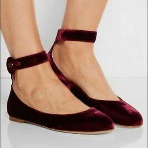 Gianvito Rossi Velvet Ballet Flats Red Buckle 12